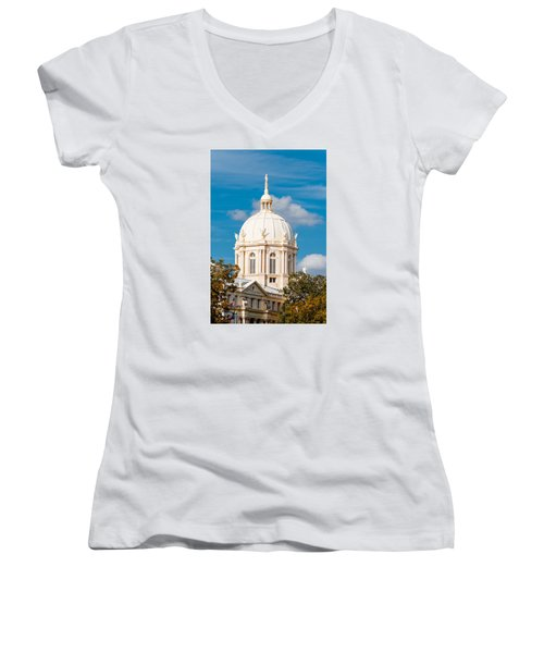 Mclennan County Courthouse Dome By J. Reily Gordon - Waco Central Texas Women's V-Neck (Athletic Fit)