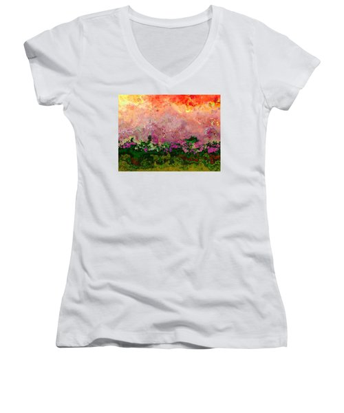 Women's V-Neck T-Shirt (Junior Cut) featuring the digital art Meadow Morning by Wendy J St Christopher