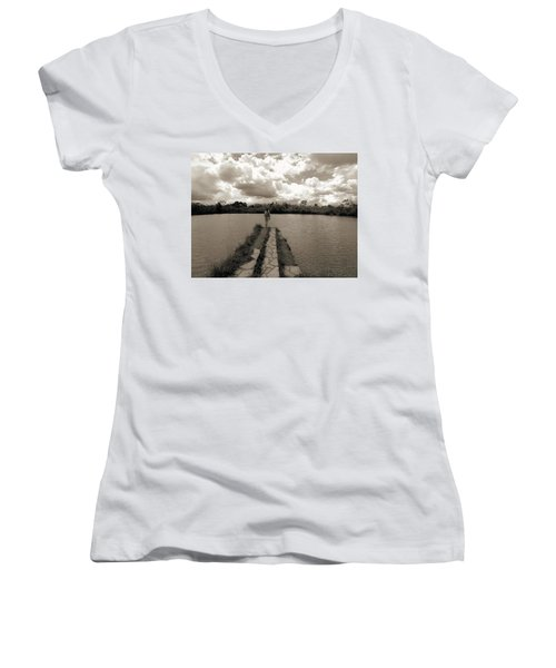 Meditation Women's V-Neck T-Shirt (Junior Cut) by Beto Machado