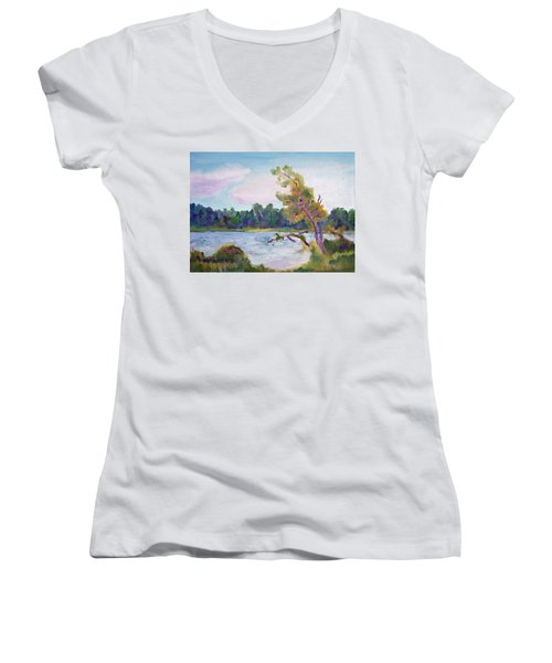 Meditation Lake  Women's V-Neck T-Shirt