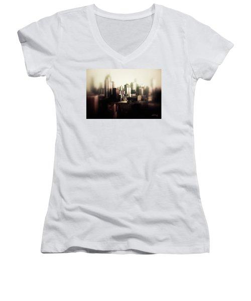 Melbourne Towers Women's V-Neck T-Shirt (Junior Cut) by Joseph Westrupp