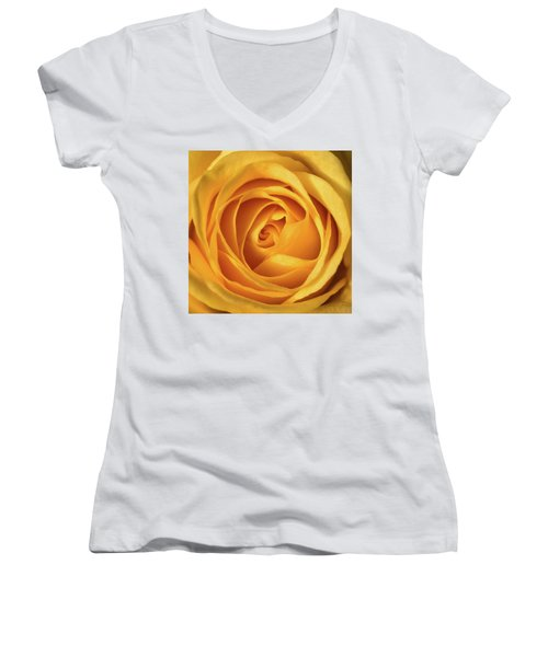 Women's V-Neck T-Shirt (Junior Cut) featuring the photograph Mellow Yellow Rose Square by Terry DeLuco