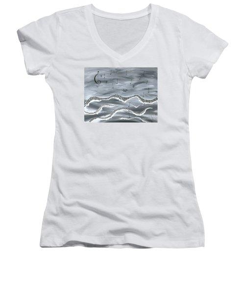 Melody Women's V-Neck T-Shirt (Junior Cut) by Kenneth Clarke