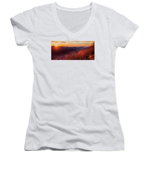 Melody Of Autumn Women's V-Neck T-Shirt (Junior Cut) by Karen Wiles