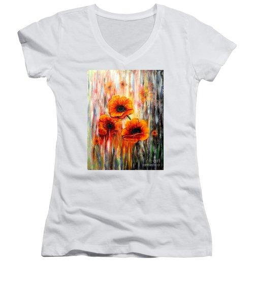 Melting Flowers Women's V-Neck T-Shirt (Junior Cut) by Greg Moores