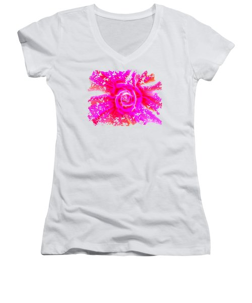 Melting Pink Rose Fractalius Women's V-Neck (Athletic Fit)
