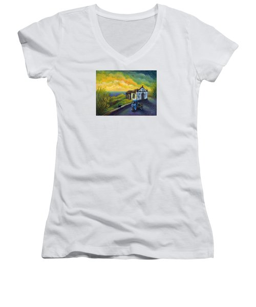 Memories Neath A Yellow Sky Women's V-Neck T-Shirt (Junior Cut) by Retta Stephenson