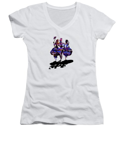 Women's V-Neck featuring the digital art Menage A Trois On Transparent Background by Barbara St Jean