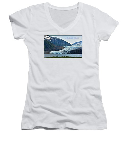 Mendenhall Glacier Women's V-Neck T-Shirt (Junior Cut)