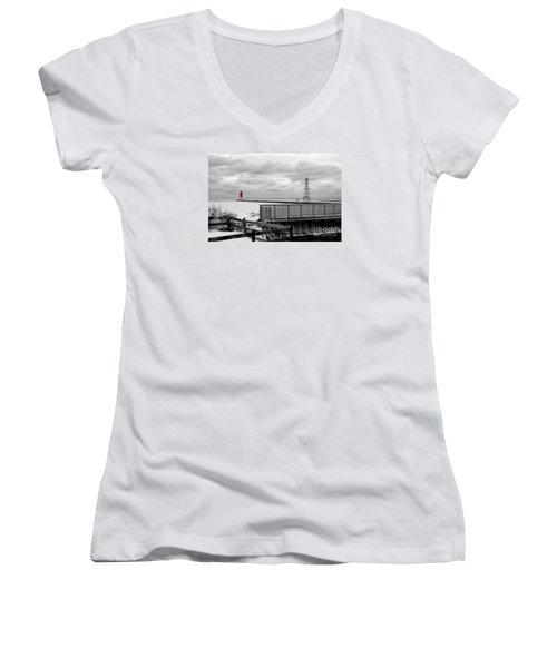 Women's V-Neck T-Shirt (Junior Cut) featuring the photograph Menominee North Pier Lighthouse On Ice by Mark J Seefeldt
