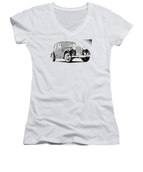 Mercedes Benz 170 S - Parallel Hatching Women's V-Neck (Athletic Fit)