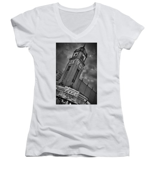 Merle Haggard Rip Fox Theater Black And White Women's V-Neck (Athletic Fit)