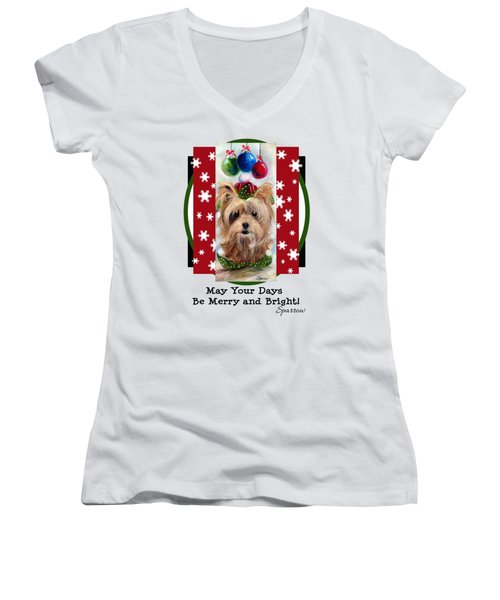 Merry And Bright Women's V-Neck (Athletic Fit)