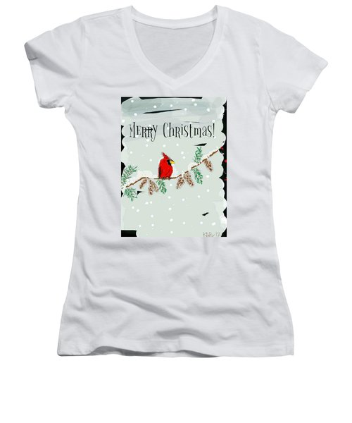 Merry Christmas Cardinal Women's V-Neck (Athletic Fit)