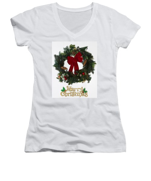 Merry Christmas Women's V-Neck T-Shirt (Junior Cut) by Kenneth Cole
