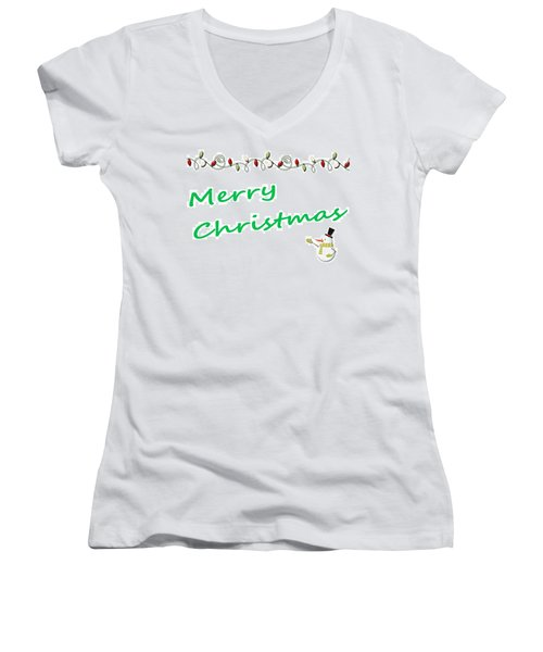 Merry Christmas Little Snow Man On White 2 Women's V-Neck T-Shirt