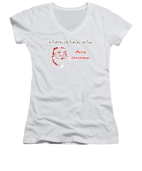 Merry Christmas Santa Claus Horizontal Women's V-Neck T-Shirt