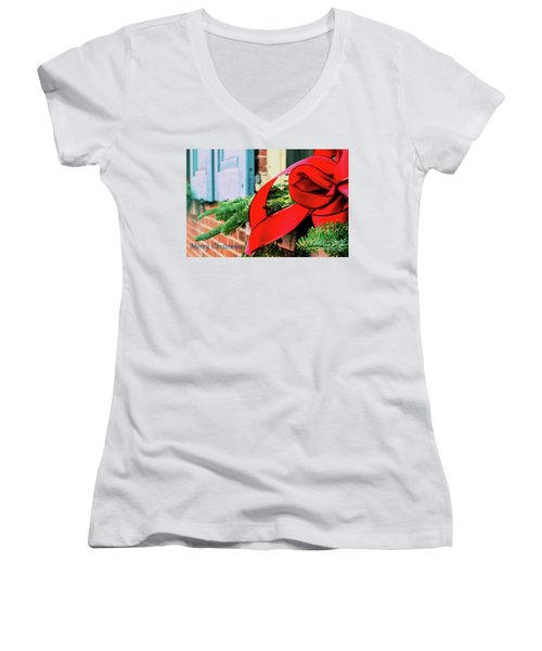 Merry Christmas Window Bow Women's V-Neck (Athletic Fit)