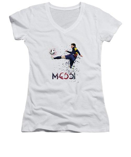 Messi Women's V-Neck T-Shirt (Junior Cut) by Armaan Sandhu