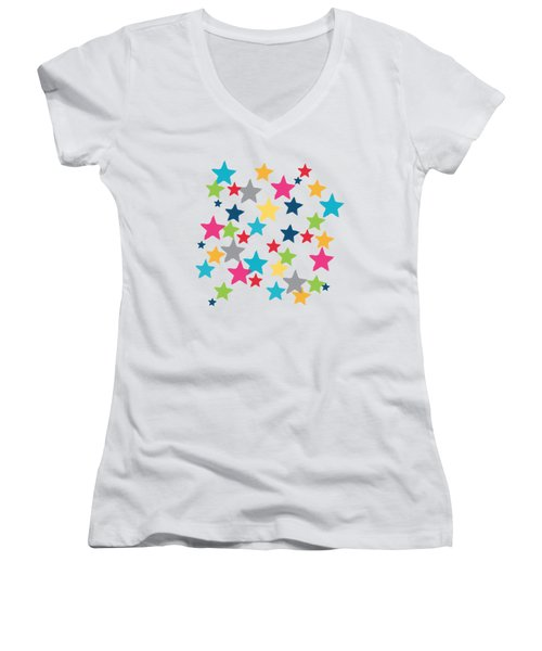 Women's V-Neck T-Shirt (Junior Cut) featuring the painting Messy Stars- Shirt by Linda Woods