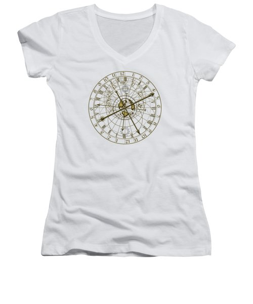 Metal Astronomical Clock Women's V-Neck T-Shirt (Junior Cut) by Michal Boubin