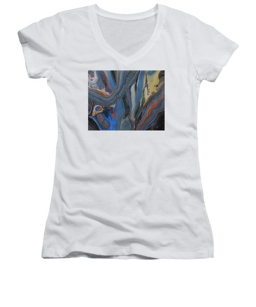Women's V-Neck featuring the painting Metal Melt by Vicki Winchester