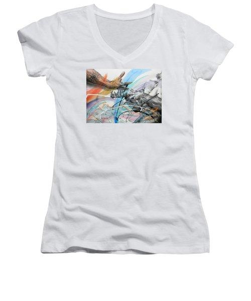 Women's V-Neck T-Shirt (Junior Cut) featuring the painting Metamorphosis by J- J- Espinoza