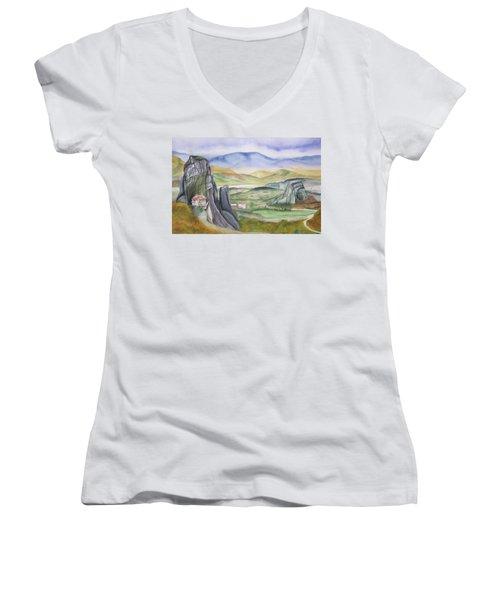 Meteora Women's V-Neck T-Shirt (Junior Cut) by Teresa Beyer