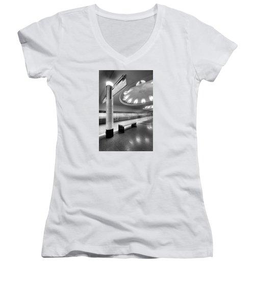 Metro #1591 Women's V-Neck T-Shirt (Junior Cut) by Andrey Godyaykin