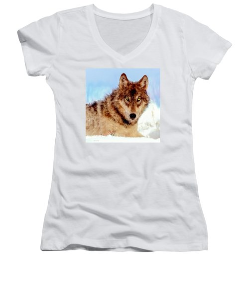 Mexican Wolf Painting Women's V-Neck