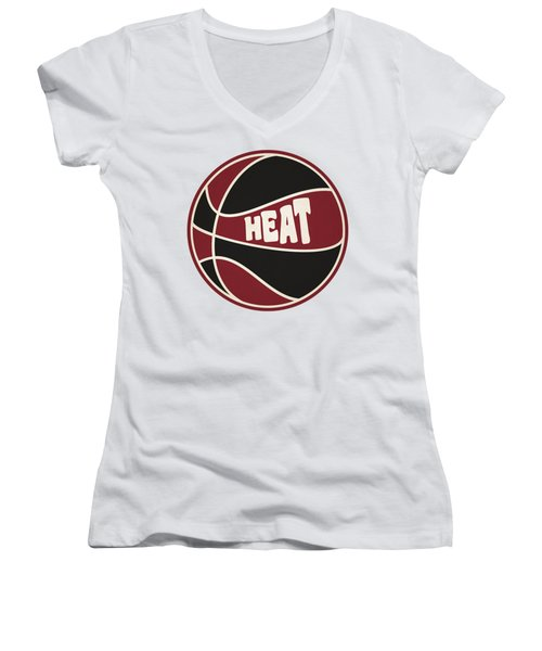 Miami Heat Retro Shirt Women's V-Neck T-Shirt (Junior Cut) by Joe Hamilton