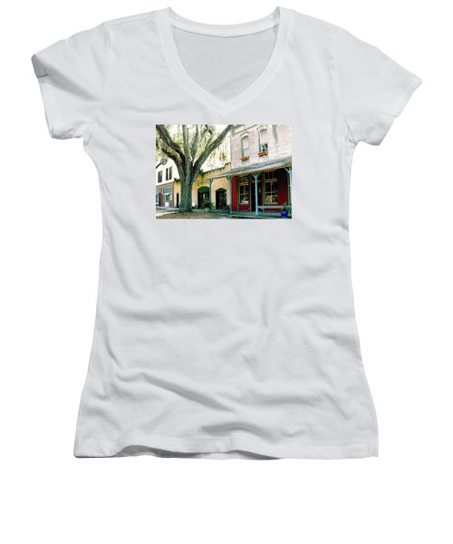 Micanopy Storefronts Women's V-Neck (Athletic Fit)