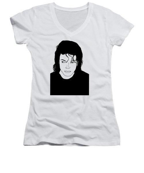 Michael Jackson Women's V-Neck T-Shirt (Junior Cut)