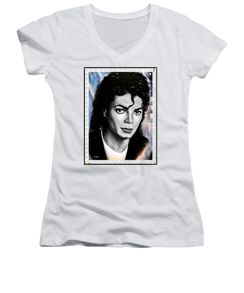 Michael Jackson Stamp Design Women's V-Neck (Athletic Fit)