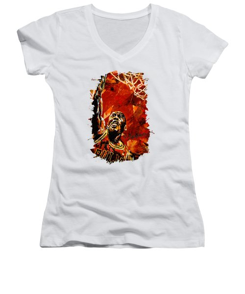 Michael Jordan Women's V-Neck T-Shirt (Junior Cut) by Maria Arango