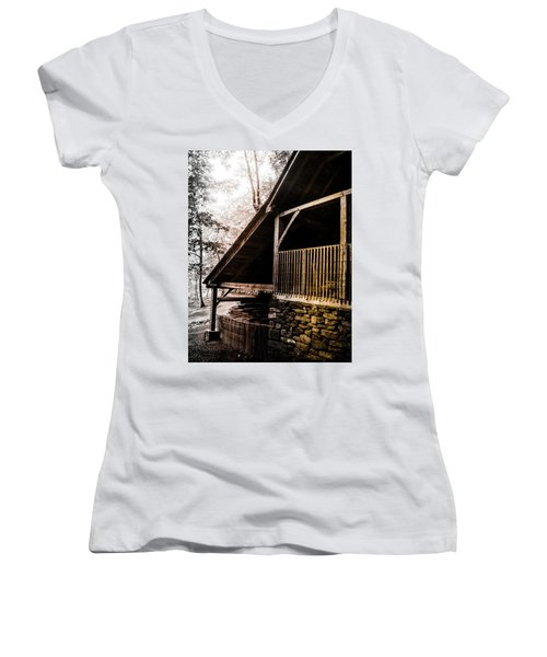 Women's V-Neck T-Shirt (Junior Cut) featuring the photograph Michie Tavern No. 5 by Laura DAddona