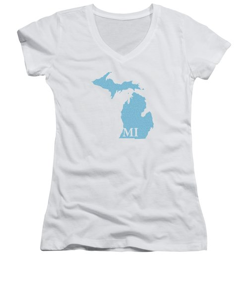 Michigan State Map With Text Of Constitution Women's V-Neck T-Shirt (Junior Cut) by Design Turnpike