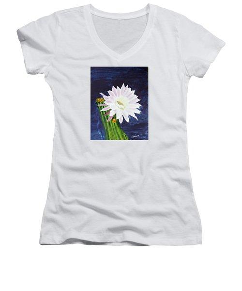 Midnight Blossom Women's V-Neck T-Shirt (Junior Cut) by Jack G  Brauer