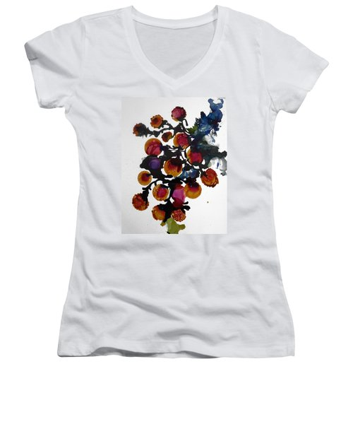 Midnight Magiic Bloom-1 Women's V-Neck T-Shirt (Junior Cut) by Alika Kumar