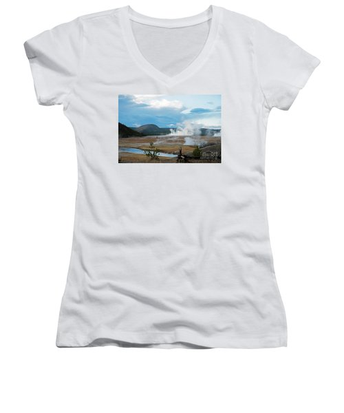 Midway Geyser Area Women's V-Neck T-Shirt (Junior Cut) by Cindy Murphy - NightVisions