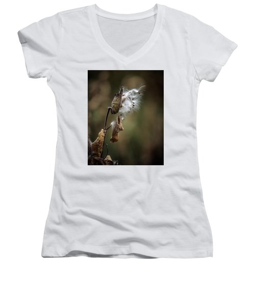 Milkweed Plant Dried And Blowing In The Wind Women's V-Neck T-Shirt (Junior Cut) by John Brink