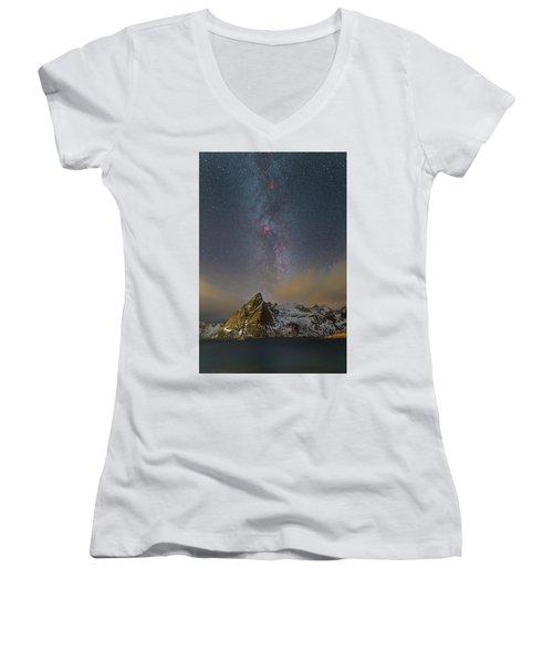 Milky Way In Lofoten Women's V-Neck