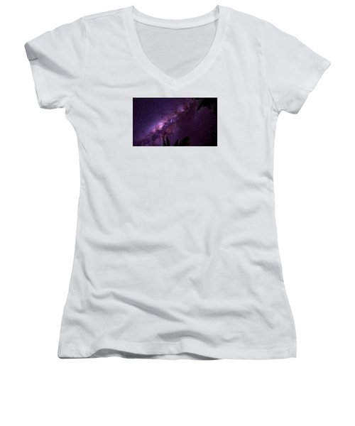 Women's V-Neck T-Shirt (Junior Cut) featuring the photograph Milky Way Over Mission Beach Narrow by Avian Resources