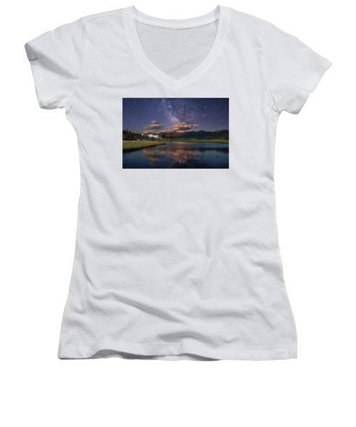Milky Way Over The Omni Mount Washington Women's V-Neck (Athletic Fit)