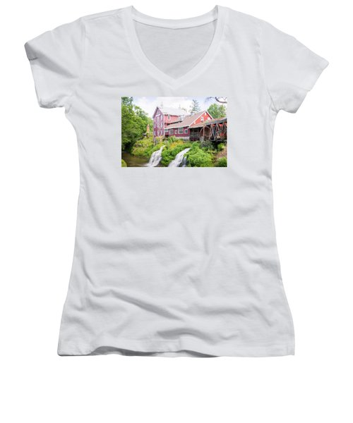 Mill Water Falls Hdr Women's V-Neck T-Shirt