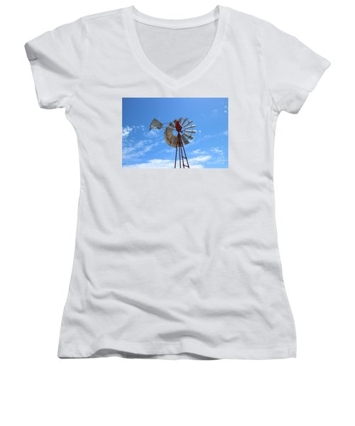 Women's V-Neck T-Shirt (Junior Cut) featuring the photograph Milled Wind by Stephen Mitchell