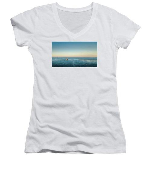 Women's V-Neck T-Shirt featuring the photograph Milwaukee Harbor by Randy Scherkenbach