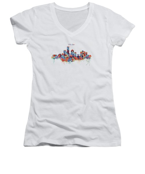 Women's V-Neck T-Shirt (Junior Cut) featuring the mixed media Milwaukee Watercolor Skyline by Marian Voicu