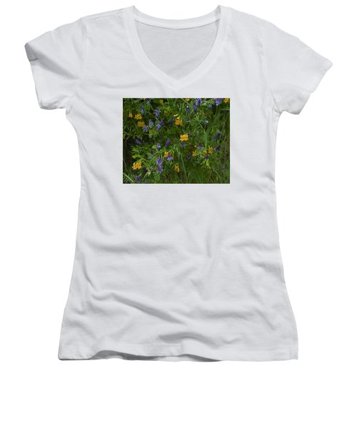 Women's V-Neck T-Shirt (Junior Cut) featuring the photograph Mimulus And Vetch by Doug Herr
