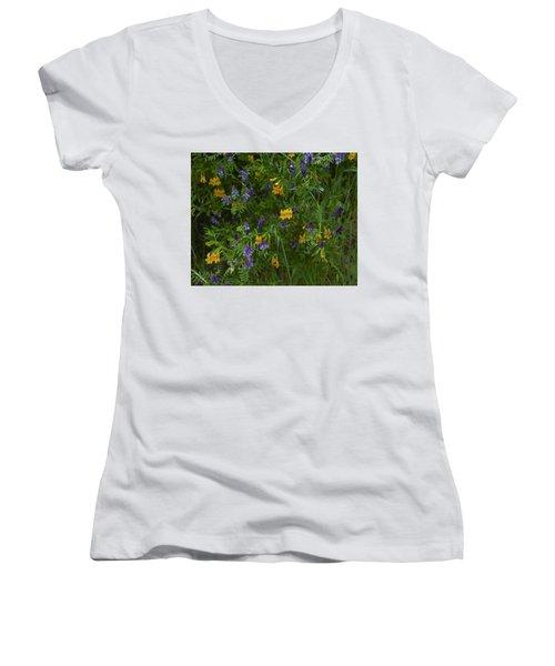 Mimulus And Vetch Women's V-Neck T-Shirt (Junior Cut) by Doug Herr